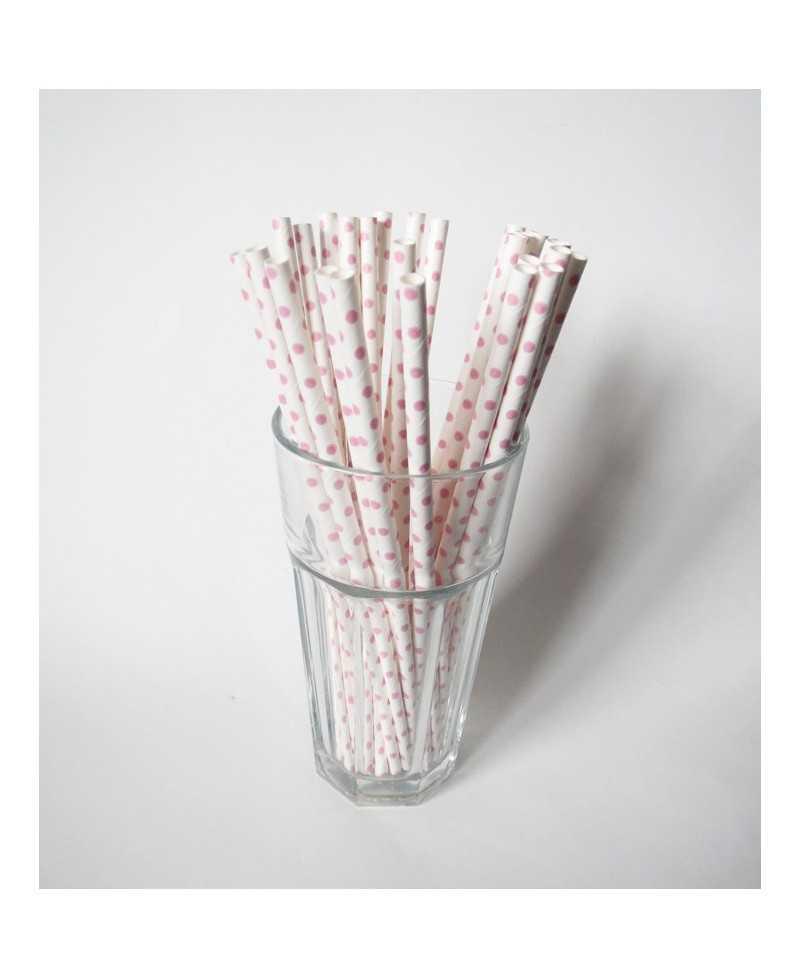 Paille en papier unie - Blanche à pois Roses