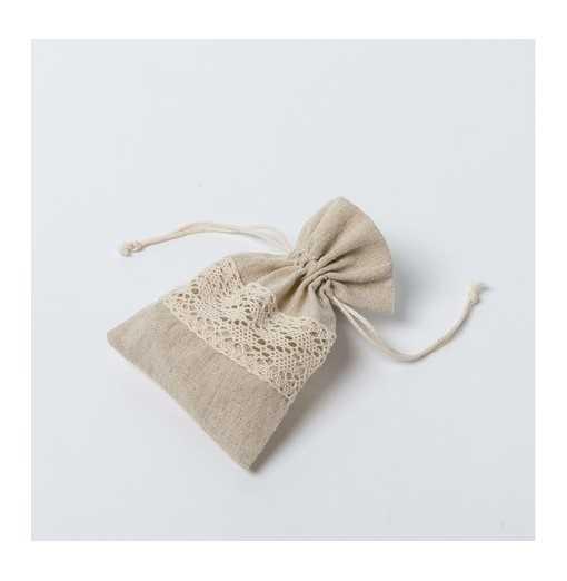 Sac en coton naturel & dentelle - 10x14cm