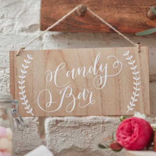 "Pancarte en bois ""Candy Bar"""