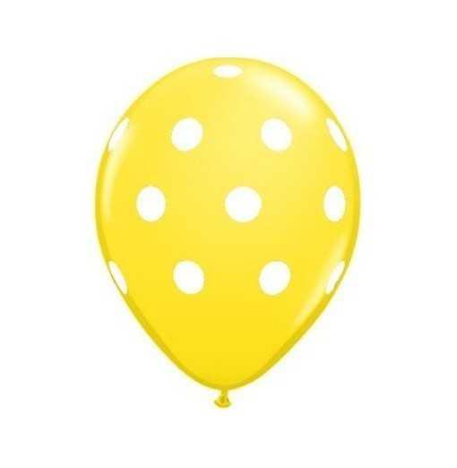 Ballon Jaune à pois blancs - 28cm
