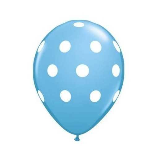 Ballon Bleu à pois blancs - 28cm