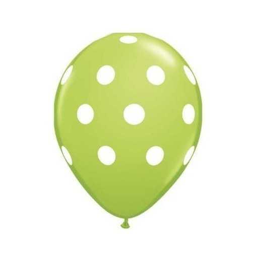 Ballon Vert à pois blancs - 28cm