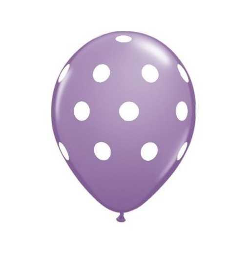 Ballon Violet à pois blancs - 28cm