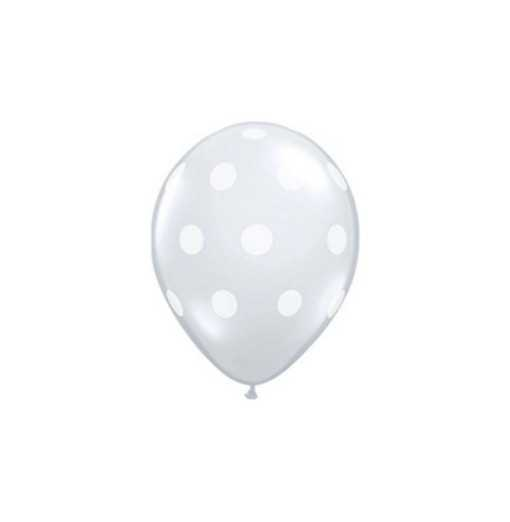Ballon Transparent à pois blancs - 28cm