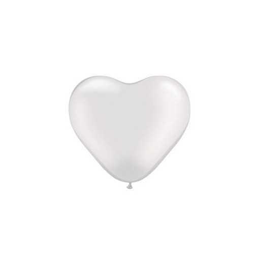 Petit ballon coeur Nacré Blanc - 15cm