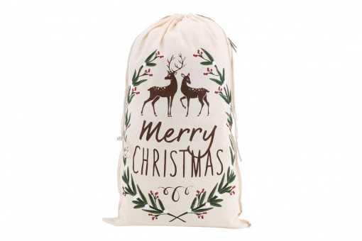 "Grand sac en toile de jute ""Merry Christmas"" - 50 x 80cm"