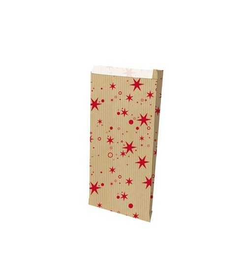 Sachet kraft brun étoiles rouge - grand (15 x 27 cm)