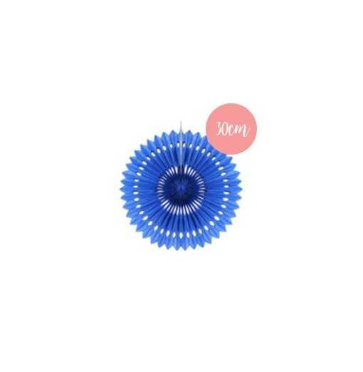 Rosace en papier bleu roi - 30cm