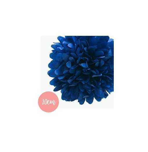 Pompon Papier Bleu Marine - 20cm