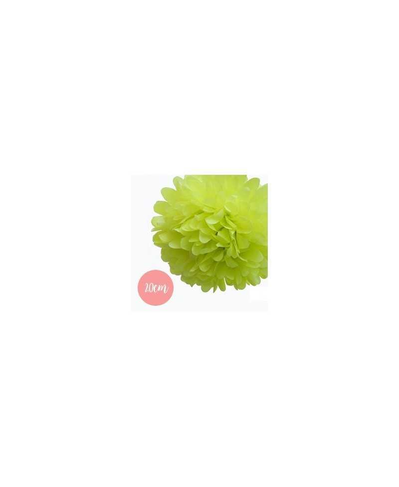 Pompon Papier Vert Pomme - 20cm