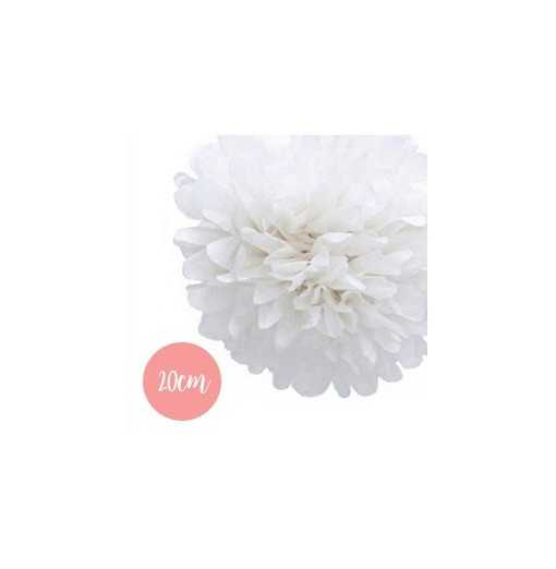 Pompon Papier Blanc - 20cm