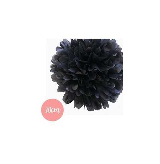 Pompon Papier Noir - 20cm