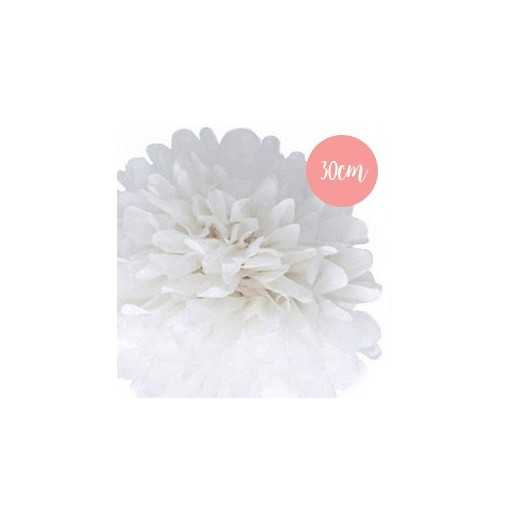 Pompon Papier Blanc - 30cm