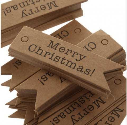 """Étiquette fanion kraft """"MERRY CHRISTMAS"""""""