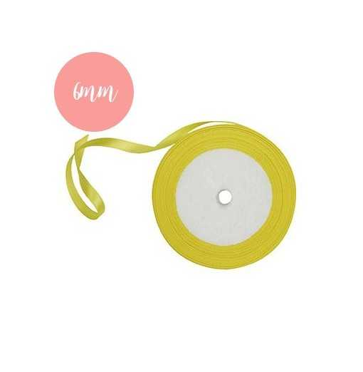 Bobine de ruban satin Jaune - 6mm