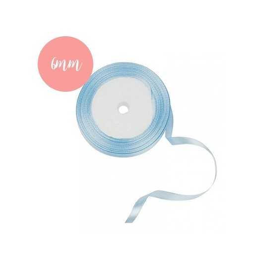Bobine de ruban satin Bleu Ciel - 6mm