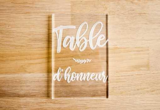 Plaque en plexi - Table d'honneur