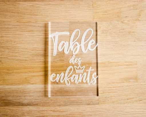 Plaque en plexi - Table des...