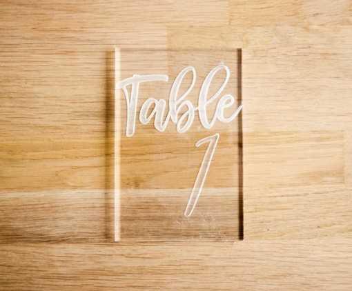 Plaque en plexi - Numéros de table