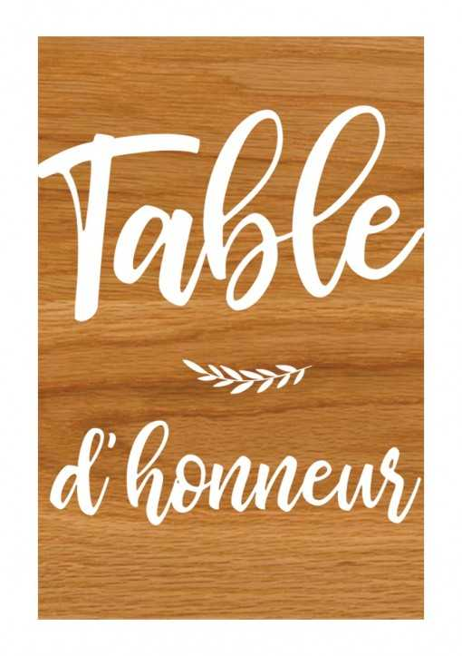 Plaque en bois - Table...