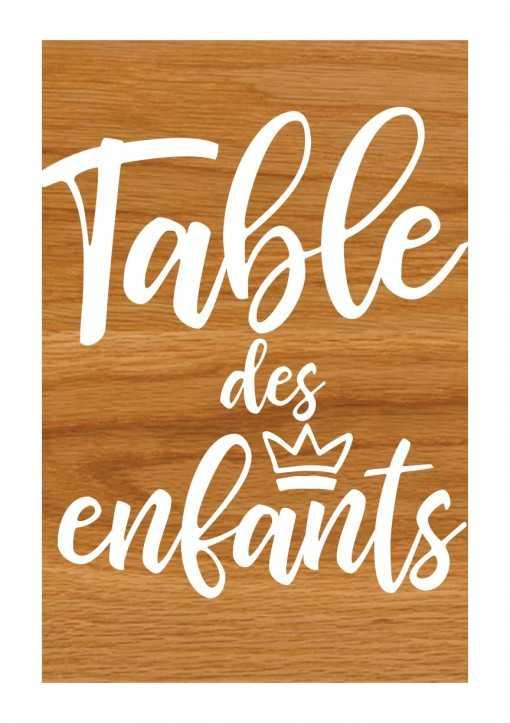 Plaque en bois - Table des enfants