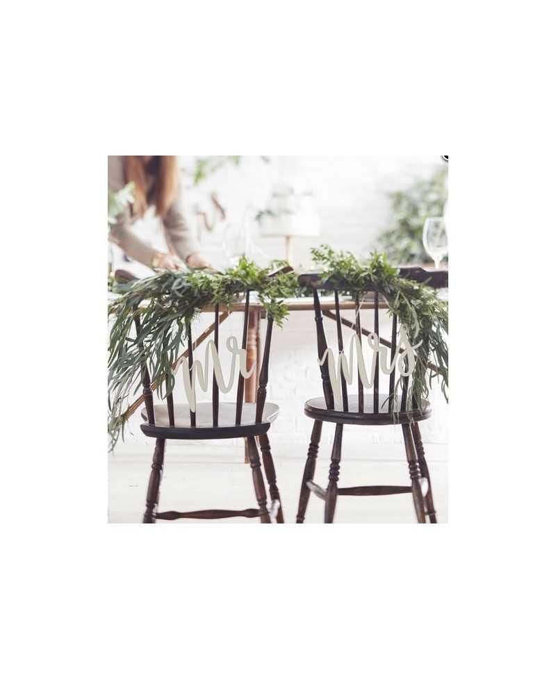 Découpes de bois Mr & Mrs dos de chaise