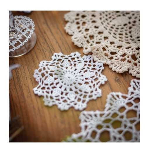 Petit napperon en crochet 10cm - Blanc