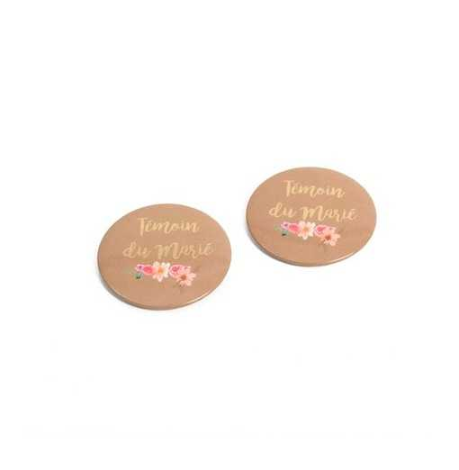 "Lot de 2 badges ""Témoin du marié"" 5cm"