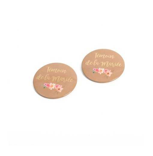"Lot de 2 badges ""Témoin de..."