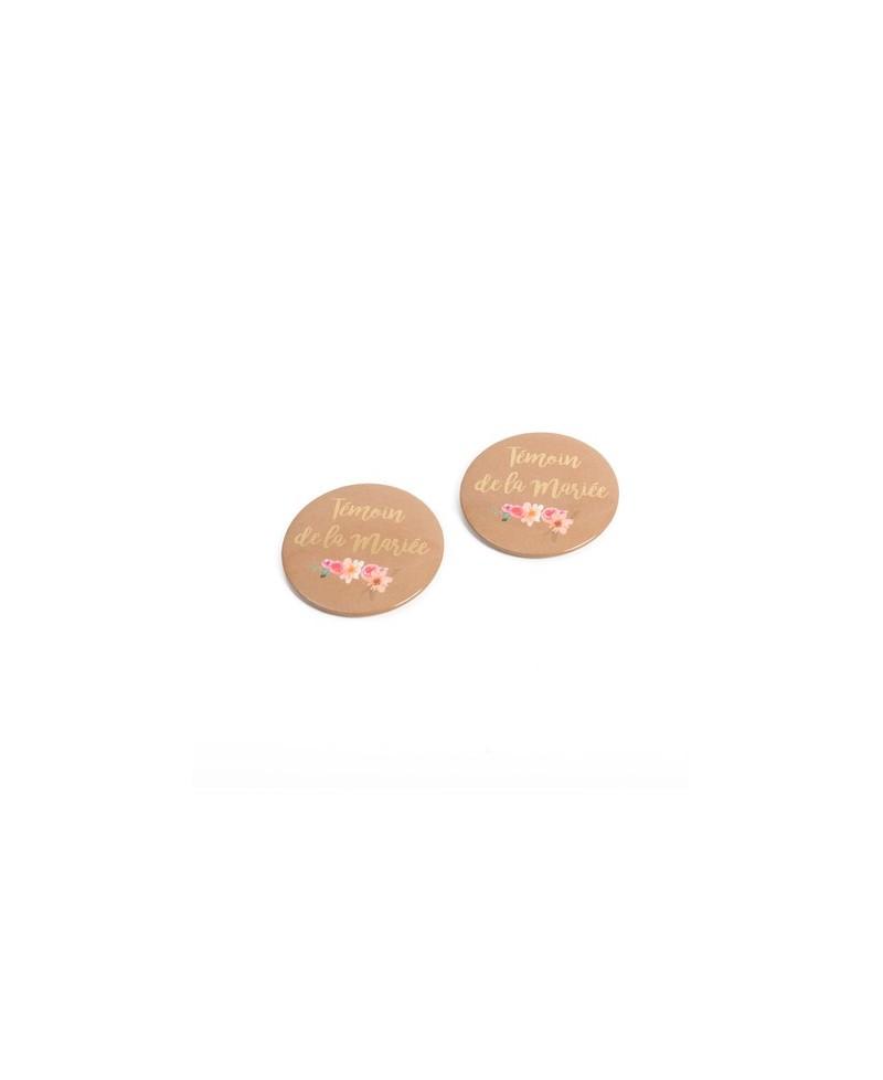 """Lot de 2 badges """"Témoin de la mariée"""" 5cm"""