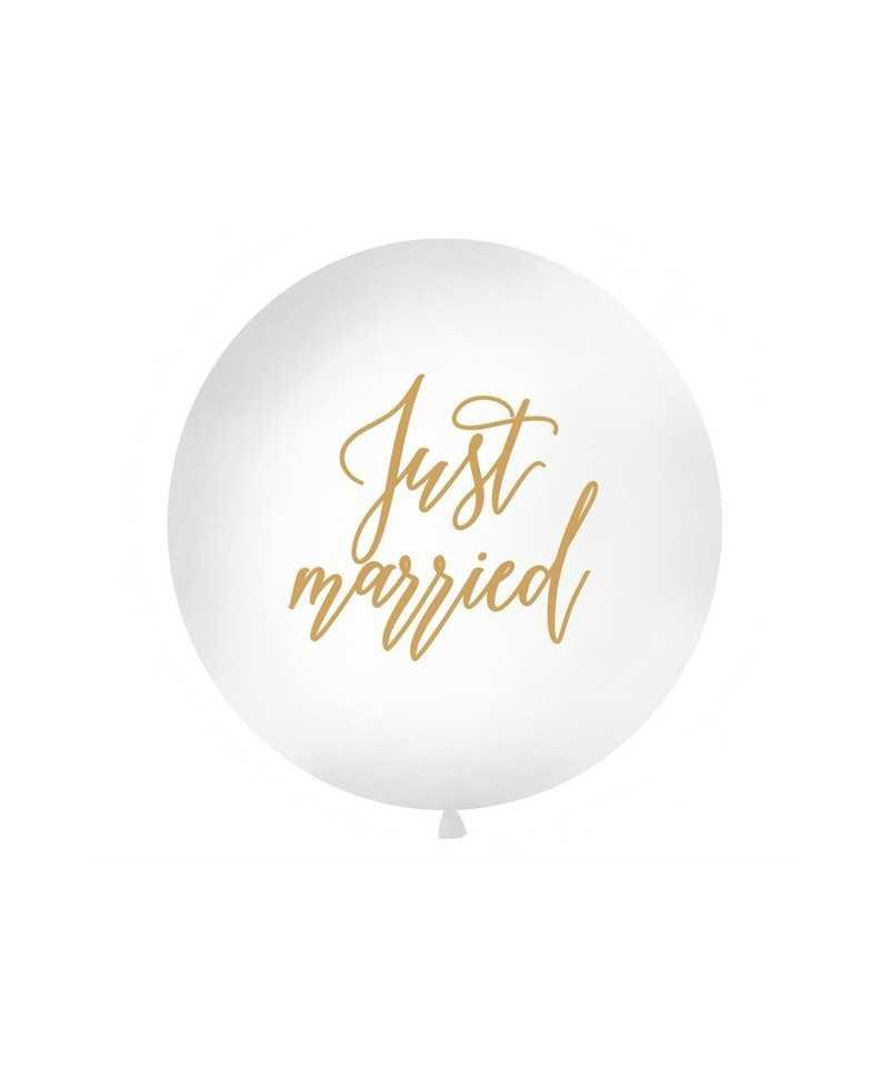 Ballon géant Blanc Just Married - 1m