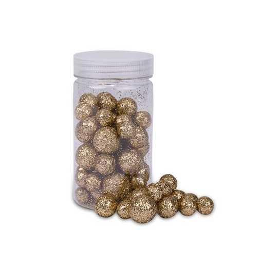 Boite de boules pailletées cuivres