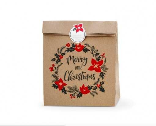 "Sachet cadeau kraft ""Merry Little Chistmas"" - 25x27cm"
