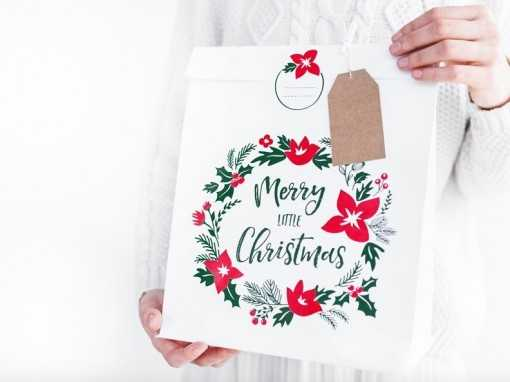 "Sachet cadeau blanc ""Merry..."
