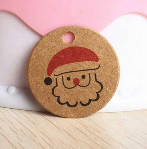 Petite étiquette ronde - Santa