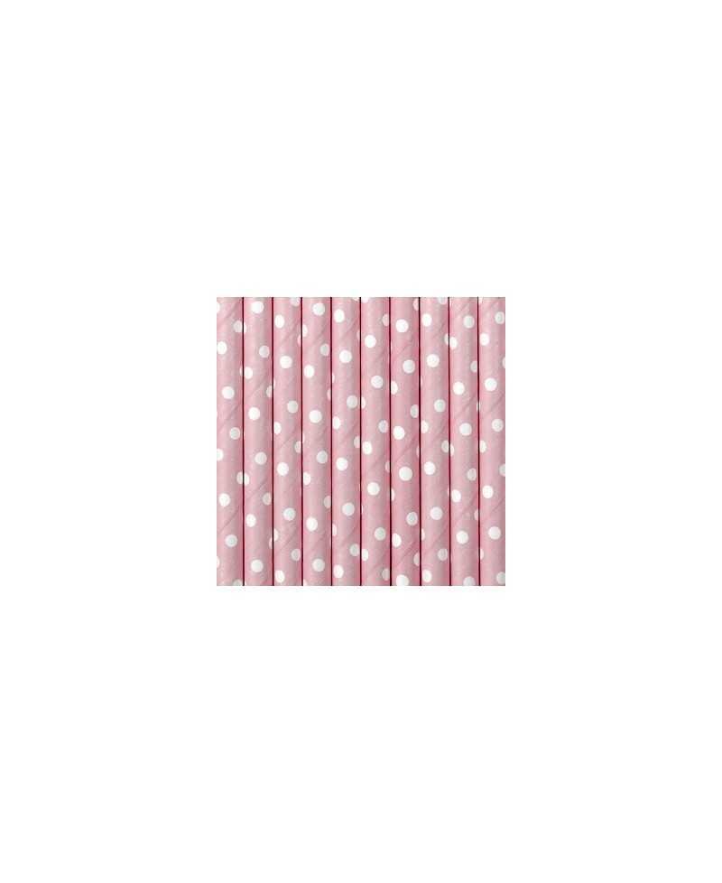 Paille en papier pois - Rose clair