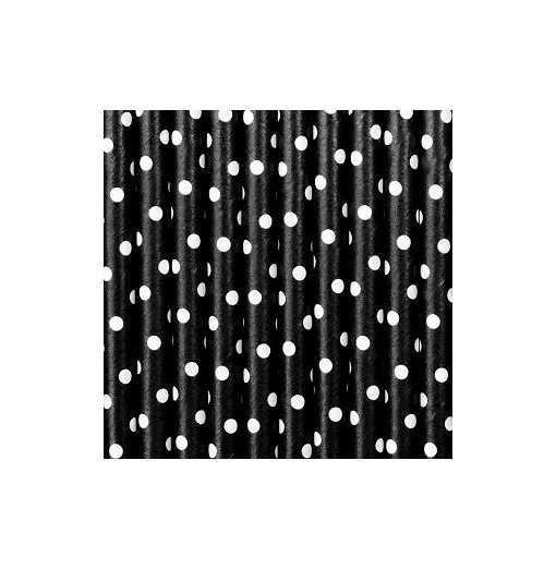 Paille en papier pois - Noir