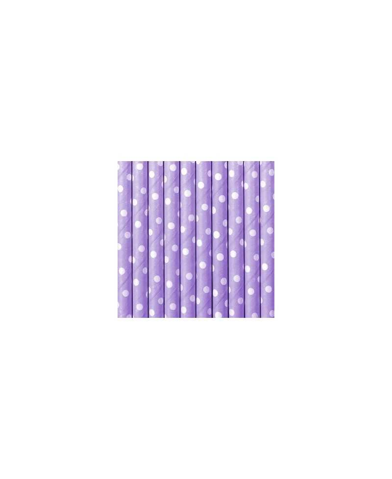 Paille en papier pois - Violette