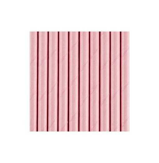 Paille en papier unie - Rose
