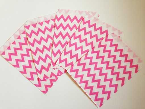 Sachet en papier chevrons - Rose flashy