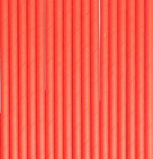 Paille en papier unie - Rouge