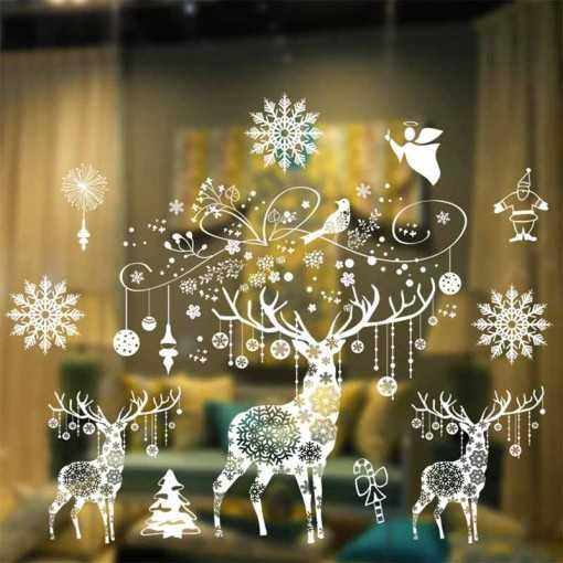 Sticker fenêtre noël rennes