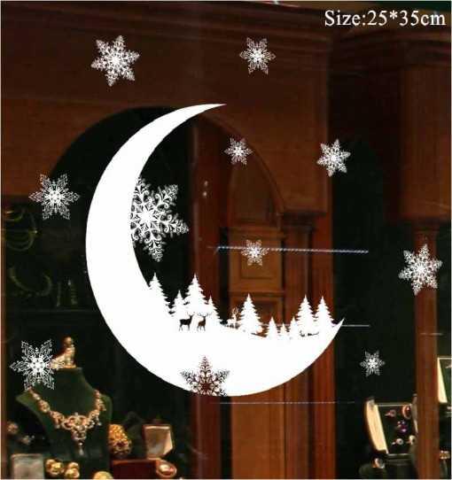 Sticker fenêtre Noël lune