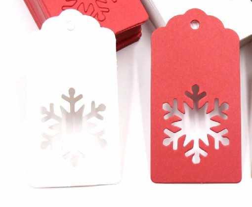 Étiquette kraft rouge flocon