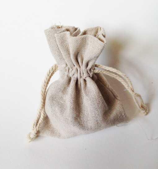 Sac en coton naturel - petite taille 9 x 12cm