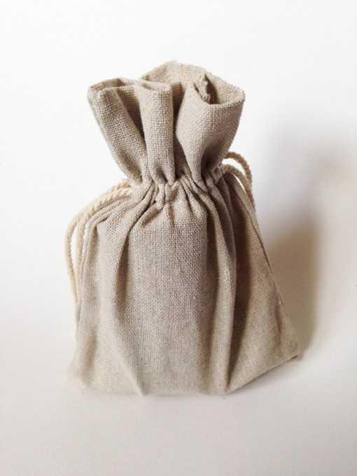 Sac en coton naturel - taille moyenne 12 x 17cm