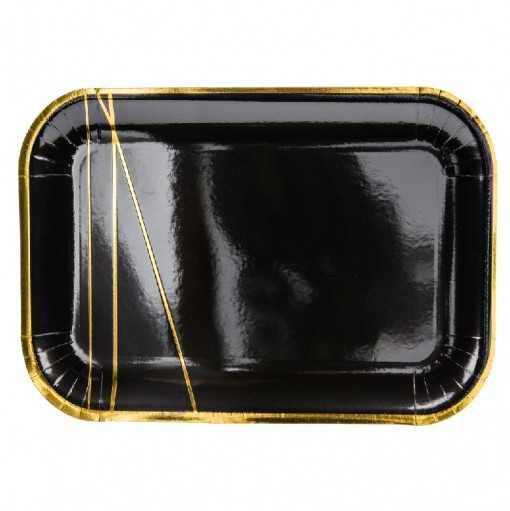 Pack 6 assiettes noir et or