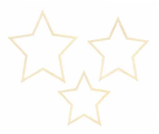 3 étoiles en bois à suspendre