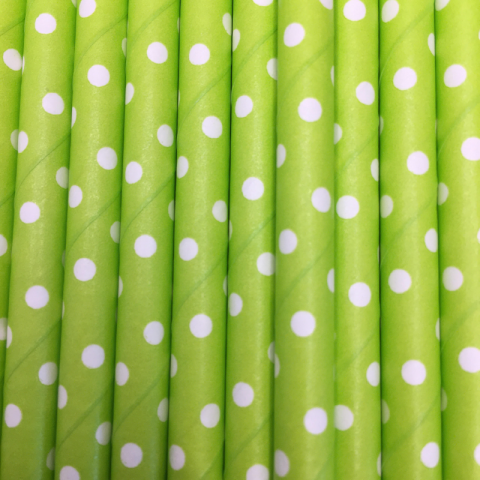 Paille en papier pois - Vert