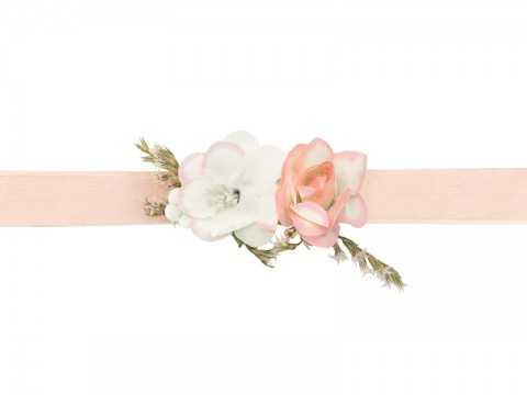 Bracelet corsage fleuri Pêche